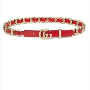 Gucci Red Belt Moon Textured Gold Buckle